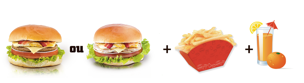 250. 1 Big King Burger ou 1 Big King Frango + 1 Batata Frita + 1 Suco 500ml