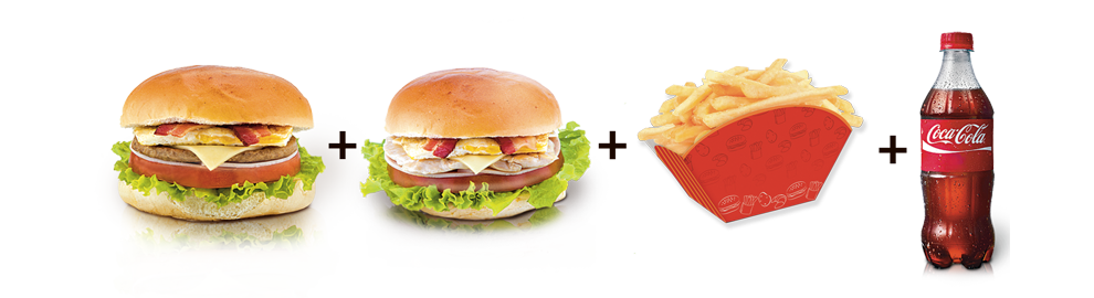 253.1 Big King Burger + 1 Big King Frango + 1 Batata Frita + 1 Refrigerante de 600ml ou 2 Refri mix de 300ml